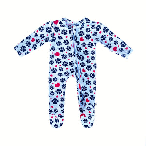 My Paw Heart Bamboo Zippered Footed Onesie