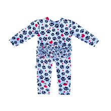 Load image into Gallery viewer, My Paw Heart Ruffled Zippered Footless Romper