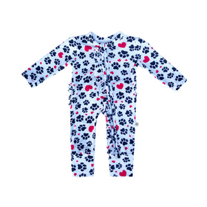 My Paw Heart Ruffled Zippered Footless Romper