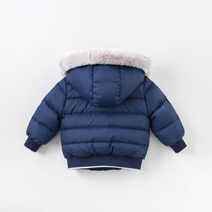 Navy Bomber Down Jacket with Polar Bear Patch