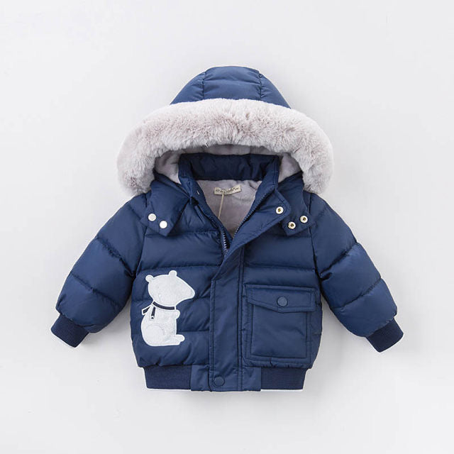 Baby Navy Bomber Down Jacket with Polar Bear Patch