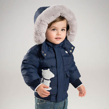 Load image into Gallery viewer, Navy Bomber Down Jacket with Polar Bear Patch