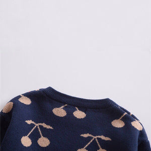Navy Cherry Print Pullover Baby Sweater