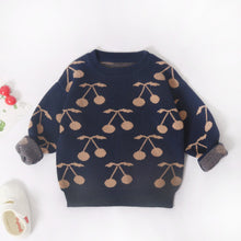 Load image into Gallery viewer, Navy Cherry Print Pullover Sweater