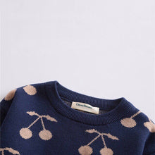 Load image into Gallery viewer, Navy Cherry Print Pullover Baby Sweater