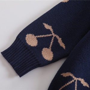 Navy Cherry Print Pullover Sweater