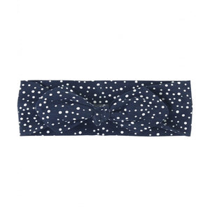 Navy Dots Knotted Bow Headband