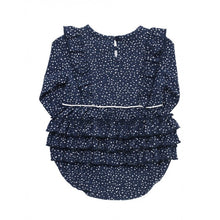 Load image into Gallery viewer, Navy Dots Waterfall Bubble Romper