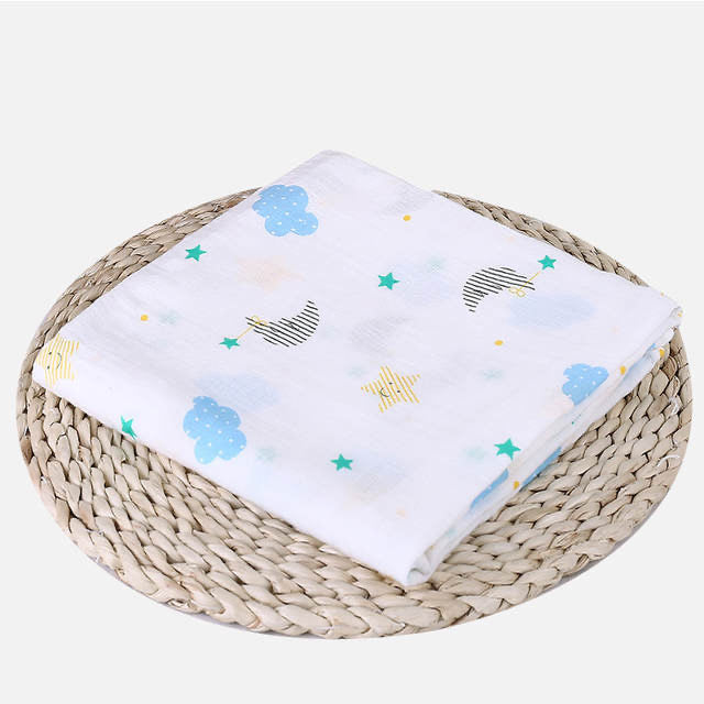 Muslin Cotton Night Cloud Print Swaddle