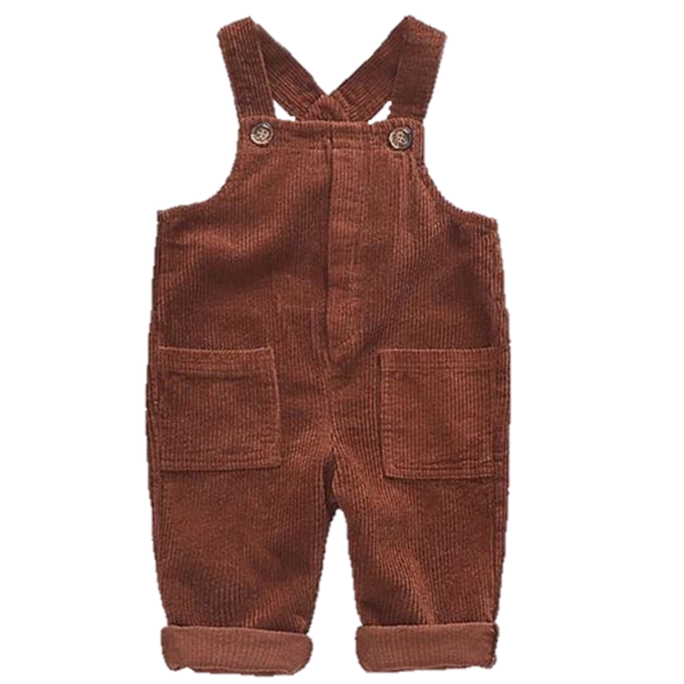Oversized Corduroy Baby Overalls in Brown