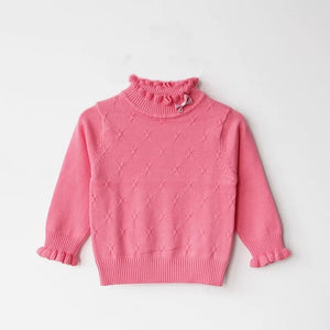 Ruffle Me Up Baby Sweater in Pink