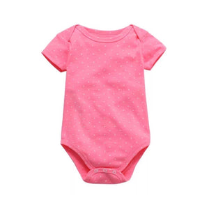 Polka Dot Cotton Bodysuit in Neon Pink