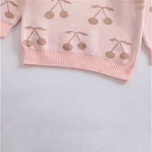 Load image into Gallery viewer, Powder Pink Cherry Print Pullover Baby Sweater