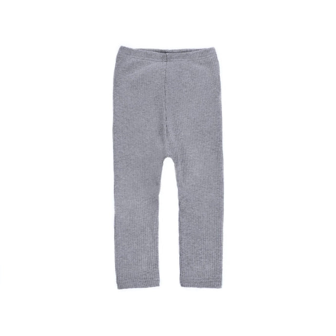 Ribbed Cotton Baby Leggings in Gray