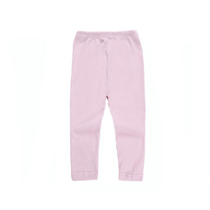 Ribbed Cotton Baby Leggings in Pink