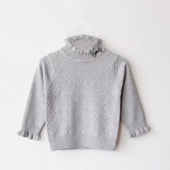 Ruffle Me Up Baby Sweater in Gray