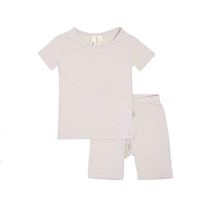 Short Sleeve Toddler Pajama Set in Oat