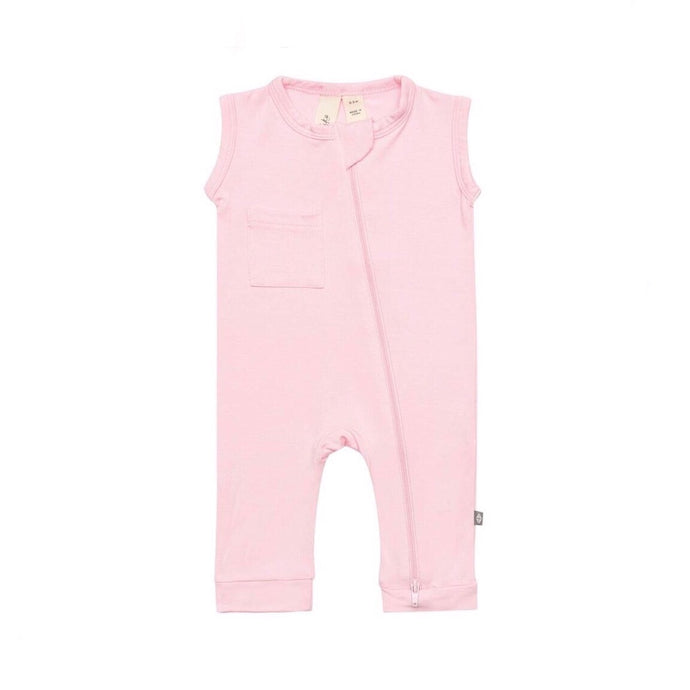 Sleeveless Footless Zippered Toddler Romper in Peony