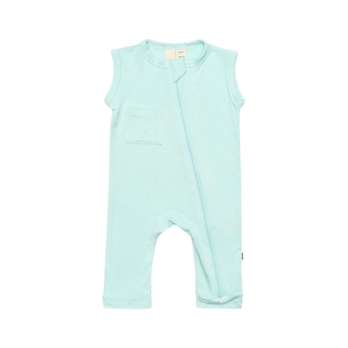 Sleeveless Footless Zippered Romper in Sea Mist
