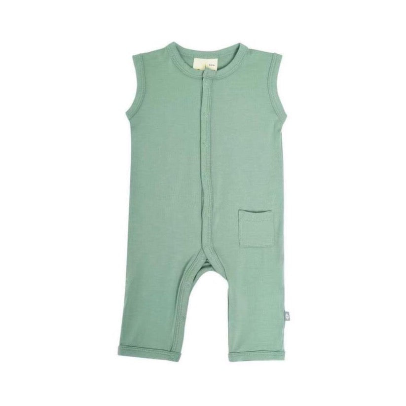 Sleeveless Footless Romper in Matcha