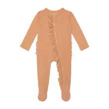 Load image into Gallery viewer, Posh Peanut Solid Ribbed Dark Nude Footie Ruffled Snap One Piece
