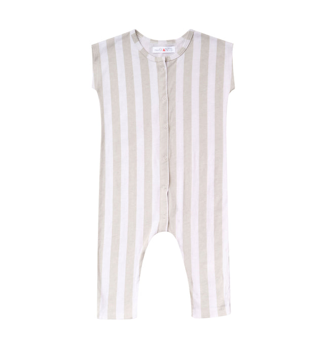 Stripe Short Sleeve One Piece Jumpsuit