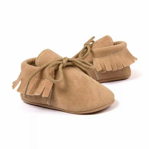 Suede Baby Moccasins in Beige