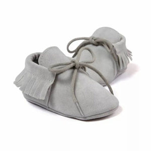 Suede Baby Moccasins in Gray