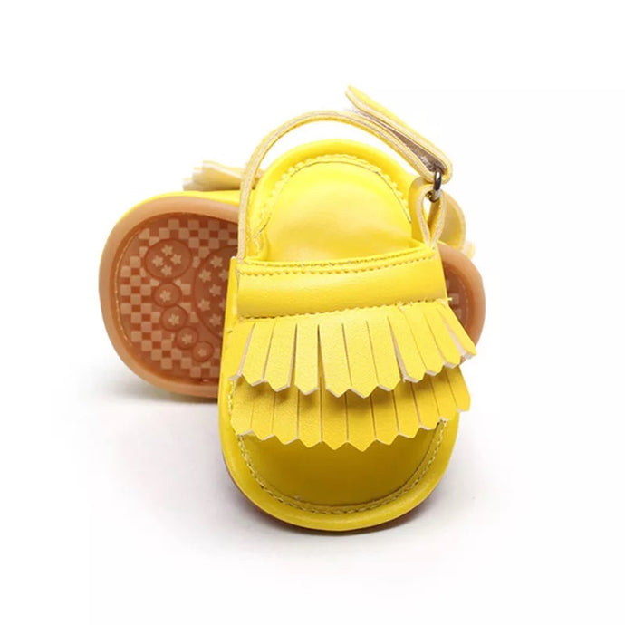 Tassel Me Up Baby Sandal in Banana