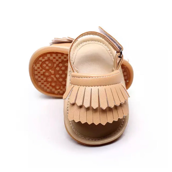 Tassel Me Up Baby Sandal in Beige
