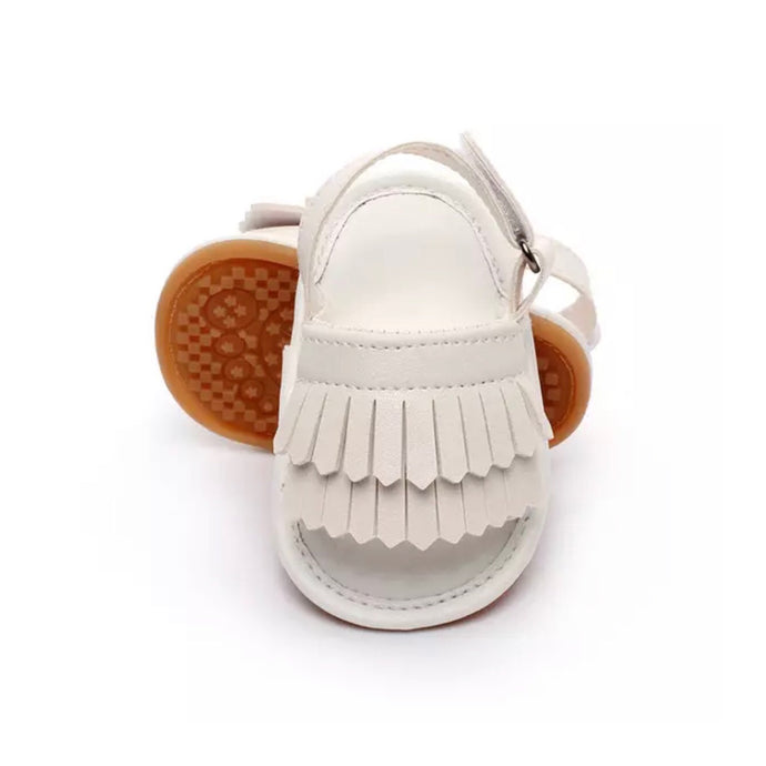 Tassel Me Up Baby Sandal in White