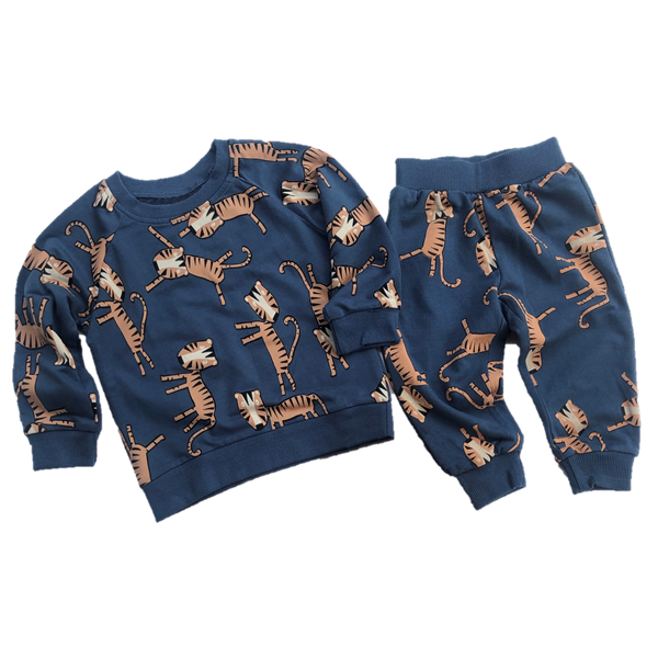 Tiger Print Baby Sweatsuit in Faded Navy