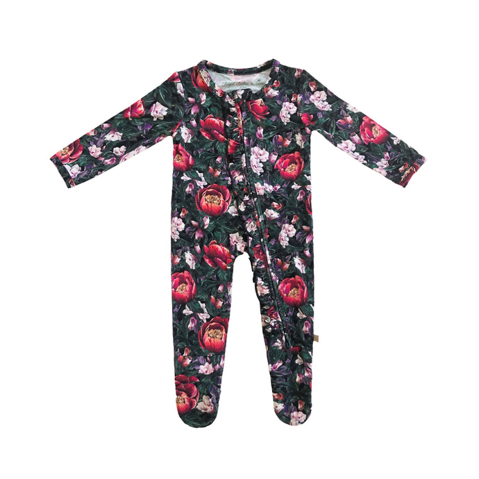 Valerie Bamboo Ruffled Zippered Footed Onesie