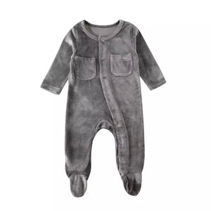 Velvet Footed Onesie in Gray