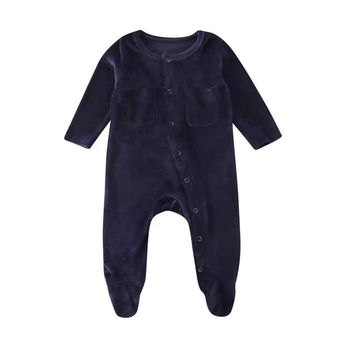 Velvet Footed Onesie in Navy
