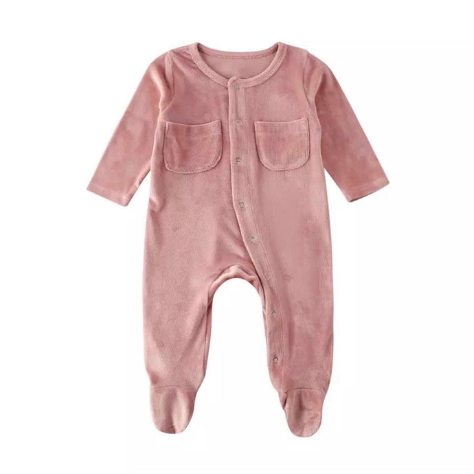 Velvet Footed Onesie in Pink