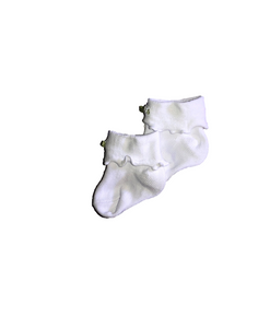 Ruffle Cuffed Socks in White