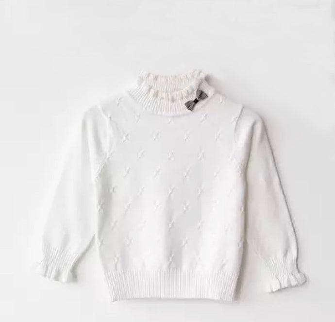 Ruffle Me Up Baby Sweater in White