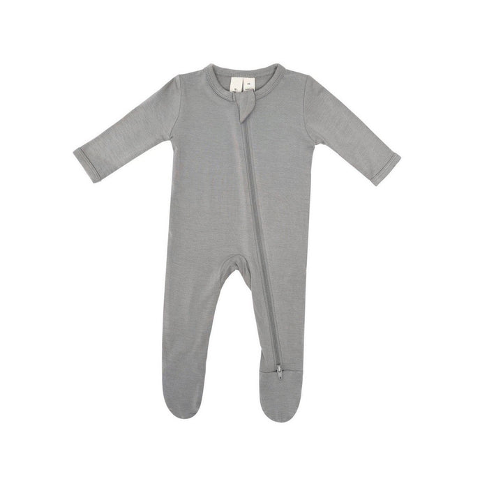 Zippered Footed Onesie in Chrome