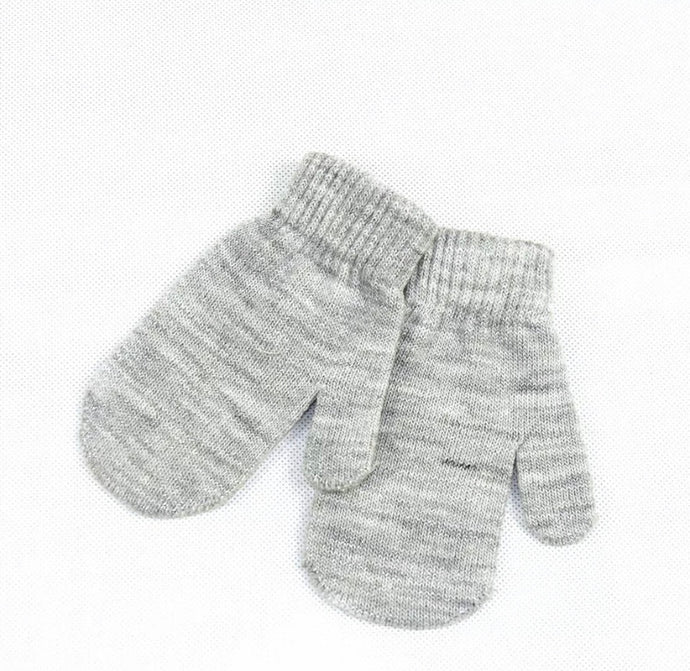 Knitted Mittens in Gray