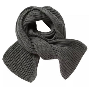 Knit Ribbed Scarf in Gray