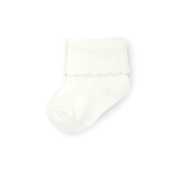 Cuffed Scalloped Socks in Ivory