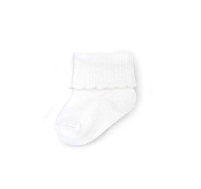 Cuffed Scalloped Socks in White