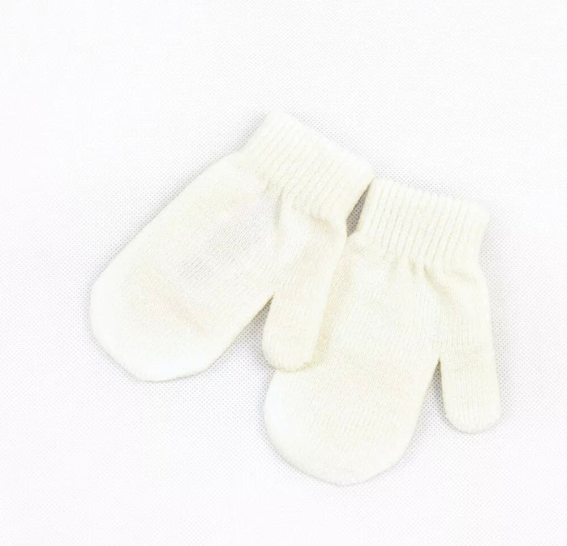 Knitted Mittens in White