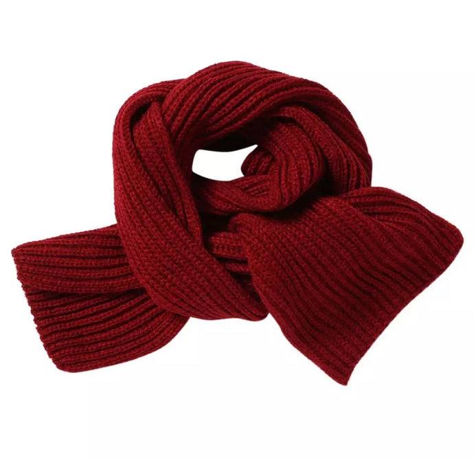 Knit Ribbed Scarf in Wine