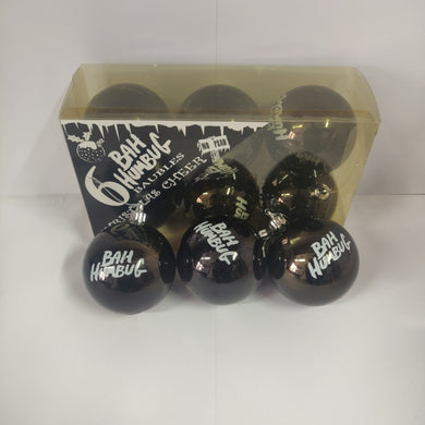 Bah HUMBUG baubles pack of 6.