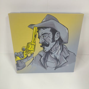 GUNPOINT ORIGINALS: Lonely cowboy 20 x 20 cm canvas print.