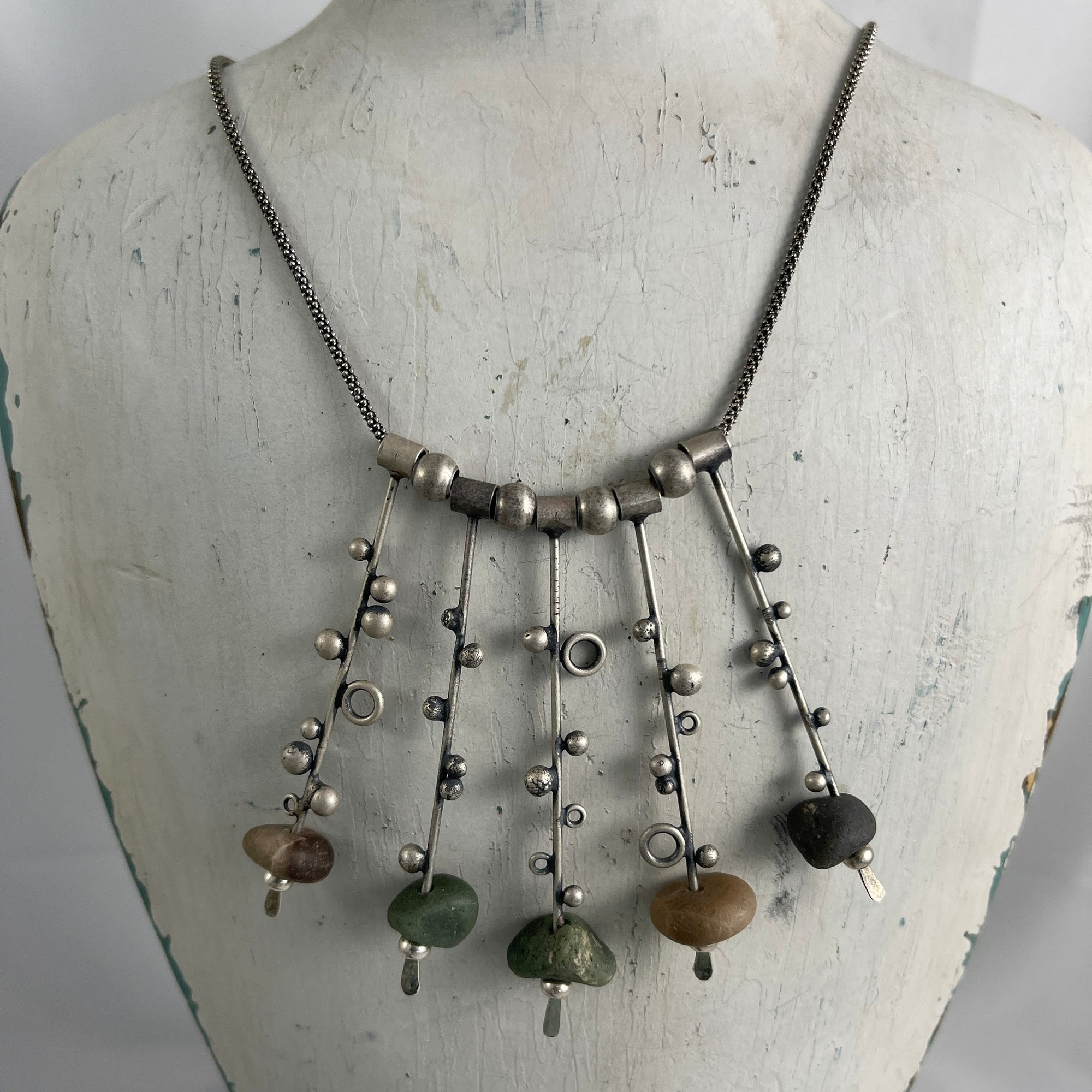 Leland Blue and Petoskey Stone Stick Necklace