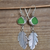 Beach Glass Earrings-Green Leaves