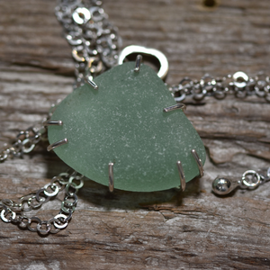 Beach Glass Necklace  -Pronged Element